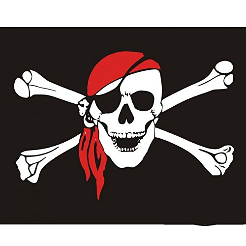 Drapeau Fanion tête de Mort Pirate Coutures renforcées - Flag pour Motos Custom - Harley - Trikes