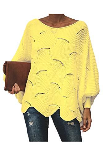 Jerséis Casuales De Mujer De Manga Larga De Ganchillo Ahuecado hacia Fuera Suéter Suelto De Punto Amarillo XL