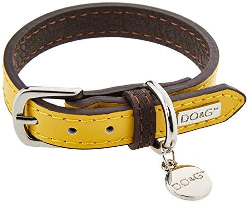 DO & G Leather Collection collare per cani, taglia XS, giallo