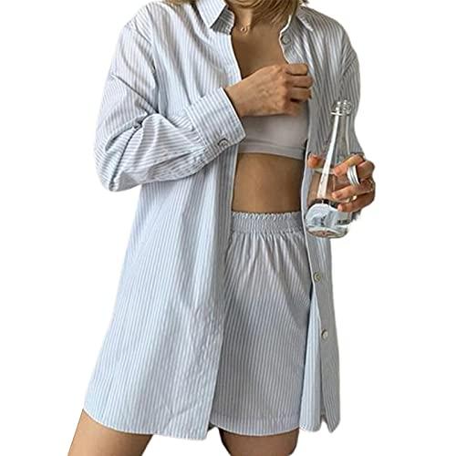 Conjunto casual de 2 piezas para mujer, de manga larga, cuello con botones, camiseta de verano Y2K Streetwear, azul claro, M