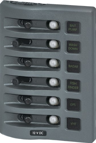 Blue Sea Systems WeatherDeck 12V DC Waterproof Circuit Breaker Panel - Gray, 6 Positions