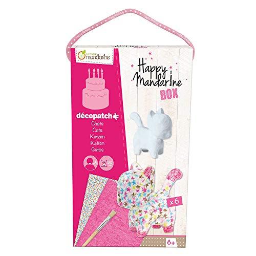 Avenue Mandarine KC008O - Une boite créative Happy mandarine box comprenant 6 chats en papier pulpé blanc, pinceaux et feuilles Décopatch pour 6 enfants