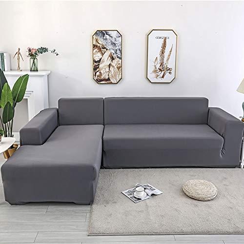 XQWZM Sofá Moderno Minimalista Slipcover,Elasticidad Cubierta del Sofá,Protector De Muebles De Sala De Estar,para L-Forma Sofá Seccional,1 2 3 4 Cubierta De Sofá De Marinero-Gris 190-230cm(73-91inch)