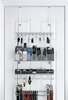 Men's Over the Door/Wall Belt Tie Valet Organizer - SILVER powder coat - High quality men's organizer by Longstem - Patented - Rated Best! Now also in Black #9200