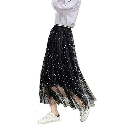 Frauen Damen Tutu Mesh Röcke Pailletten Tüll Funkelnde Sterne Lange Röcke Hohe Elastische Taille Gefaltete Maxi Röcke (Schwarz)
