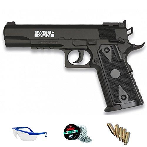 Swiss Arms 1911 Pack Pistola de Aire comprimido Arma de CO2 y balines BBS (perdigones de Acero) <3,5J