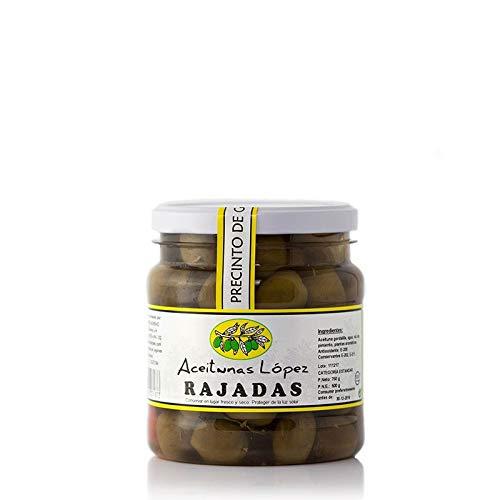 Aceitunas Rajadas Naturales Aliñadas - Bote de 750 g - Aceitunas Lopez (Pack de 1 bote)