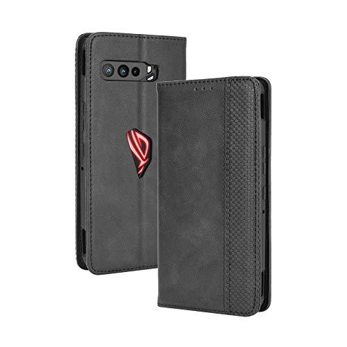 HAOTIAN Leder Hülle für ASUS ROG Phone 3 Hülle, Premium PU/TPU Leder Folio Hülle Schutzhülle Handyhülle, Flip Hülle Klapphülle Lederhülle mit Standfunktion und Kartensteckplätzen, Schwarz