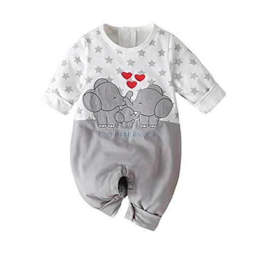 YEBIRAL Baby Mädchen Junge Langarm Strampler Neugeboren Elefanten Druckn Outfits Set Babykleidung Lustig Patchwork Spielanzug Baumwolle Strampelanzug für Frühling und Herbst Schlafanzug