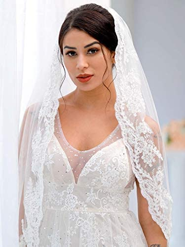 Brishow Wedding Bridal Veil with Comb Lace Flower Edge Tulle White Veil for Brides 1 Tier Fingertip product image