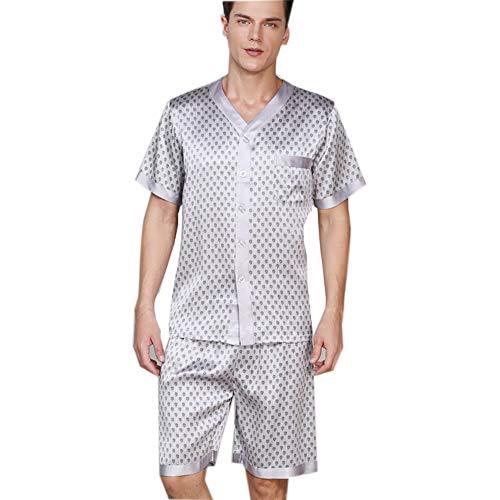 100 Pyjamas aus Reiner Seide für Herren, Kurzes Schlafanzug-Set mit Druckknöpfen, Nachtwäsche Nachtwäsche mit kurzen Ärmeln für den Sommer,Silver,L