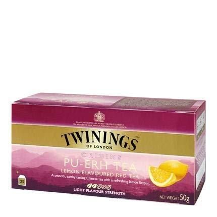 Twinings of London - Tè Pu- Ert al limone - Un delicato tè cinese con un rinfrescante sapore di limone - 25 bustine di tè