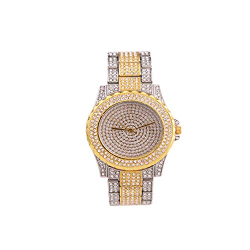 Reloj de pulsera para mujer de Hemelbllo, de acero inoxidable, de gypsofila Rhinestone, con diamante, para regalo de mujer y mujer