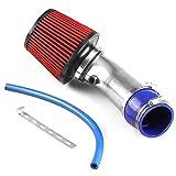 Tubo De Entrada De Aire Ajustable Universal Tubo De Admisión Kit De Sistema De Inyección De Filtro De Aire Frío Directo Turbo para Auto (Plata)