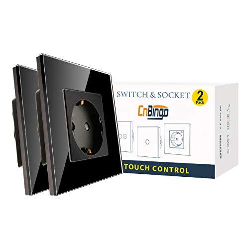 2 Paquetes CNBINGO Enchufe Simple 16A con vidrio negro templado,protección infantil,material ignífugo,Enchufe Schuko estándar de la UE