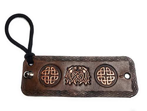 Handmade Brown Leather Bronze Celtic Dragons Hair Wrap Ponytail Holder