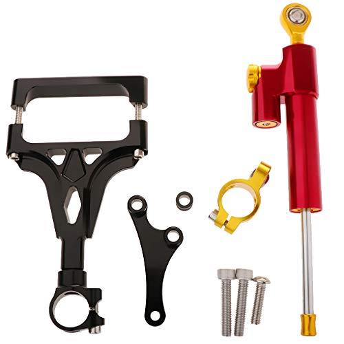 IPOTCH Motorrad Einstellbare Lenkungsdämpfer Lenkung Dämpfer Stabilisator Für Kawasaki Z1000 Z750 - Rot + Schwarz