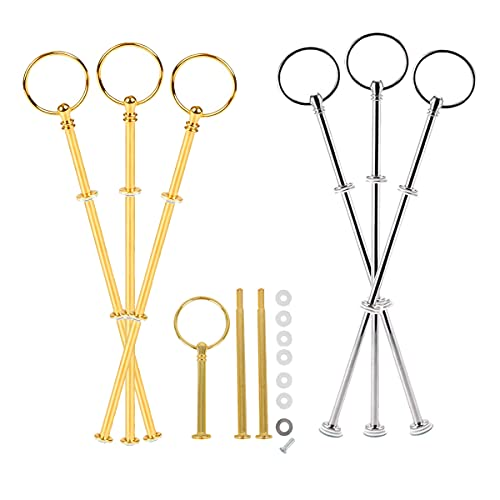 Counius 6 Sets Cake Stands Metal Rod 3 Tier Dessert Stand Round Cake Stand Plate Fittings Fruit tray Display Stand Support Rod,Gold and Silver