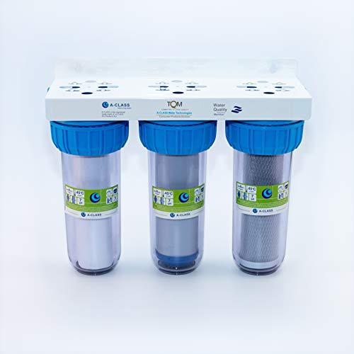 Boitier de filtre à eau pour toute la maison - Système de filtration 3 étages - Comprend une cartouche de filtre à sédiments de 5 microns, une cartouche CTO, une cartouche GAC - Inserts en laiton