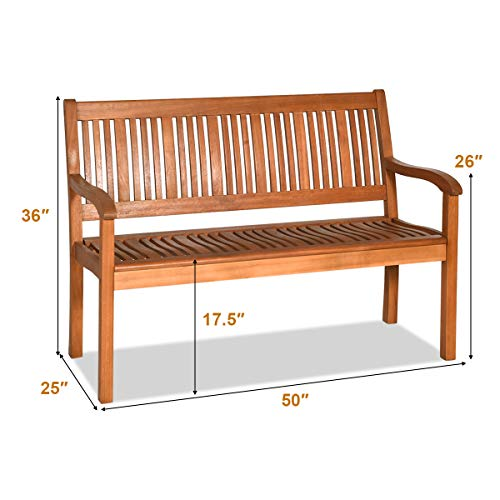 Safstar Outdoor Wooden Bench, Eucalyptus Wood Garden Bench with Curved Armrest and Backrest, 2-Person Loveseat for Entry Way Porch Garden, Strong Weight Capacity of 700lbs