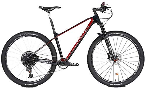 HCMNME Durable Bicycle, Outdoor Sports Carbon Fiber Mountain Bike, 27.5/29 inch 12speed Variable Speed GX Double disc Brake Adult Men and Women Crosscountry Climbing Bicycle Outdoor Riding Outdo