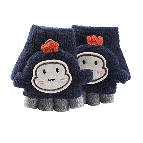 Goosuny Halbfinger Handschuhe mit Klappe Kappe 1-3 Jahre Mädchen Jungen Winter Fäustlinge Strickhandschuhe Winterhandschuhe Fingerlos Kleinkind Baby Warme Cartoon Gestrickte Halbfingerhandschuhe