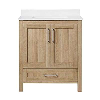 Ove Decors Kansas 30 inch Bathroom Vanity Combo Freestanding Bath Cabinet | Modern Single Sink with Cultured Marble Countertop | Fully Assembled | Backsplash Included, White Oak