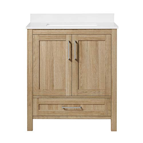 Ove Decors Kansas 30 inch Bathroom Vanity Combo Freestanding Bath Cabinet   Modern Single Sink with Cultured Marble Countertop   Fully Assembled   Backsplash Included, White Oak