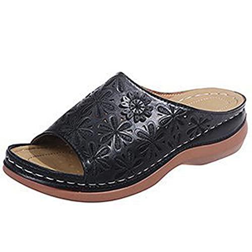 ALMAK Sandalias para mujer, sandalias de playa, sandalias de plataforma para mujer, sandalias de plataforma de moda, ortopédicas para mujer