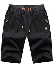 LY4U Pantalones Cortos de Verano para Hombre Pantalones Deportivos Deportivos Pantalones Cortos de Gimnasio con Bolsillos con Cremallera en la Cintura elástica