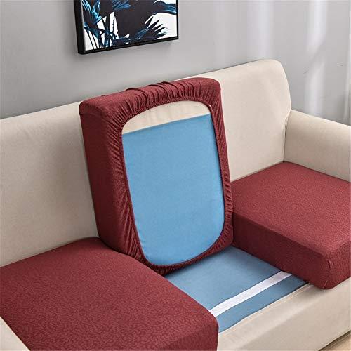 Fundas de cojín de sofá impermeables, fundas de cojín de sofá, fundas de cojín gruesas, elásticas para cojines individuales (rojo, 3 plazas)
