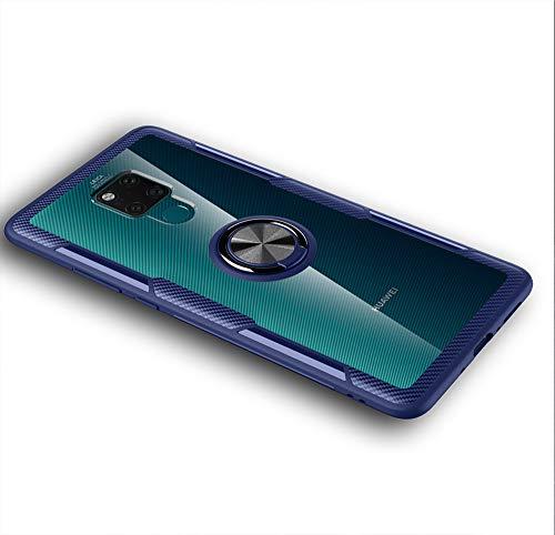LAGUI Passend für Huawei Mate 20 X (5G) Hülle, Transparente Handyhülle Mit 360 ° Verdrehbare Ring, für Magnetischen Autohalterungen. blau
