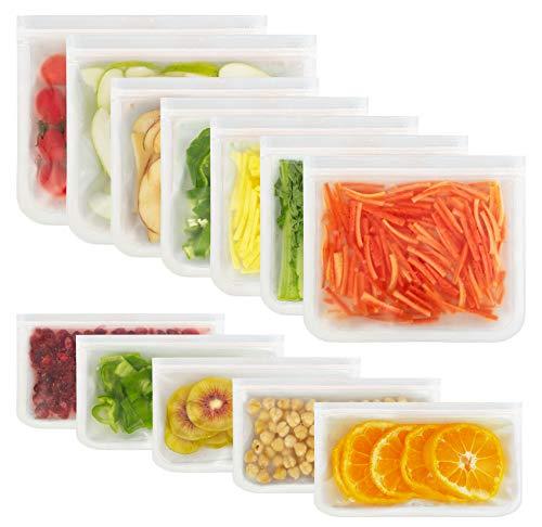 Korlon 12 Pack Reusable Silicone Bags, Food Storage Bags(5 Sandwich...