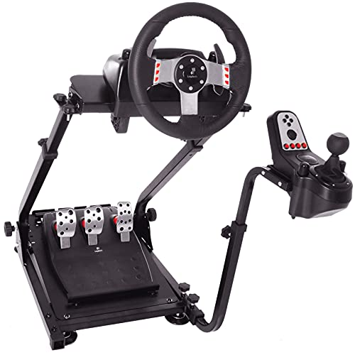 Minneer Steering Racing Wheel Stand Fit for Logitech G25, G29, G920, G923, Thrustmaster TMX, t80, Fanatec, PS4, PC Gaming Simulator Cockpit Wheel, Pedal & Shifters Not Included