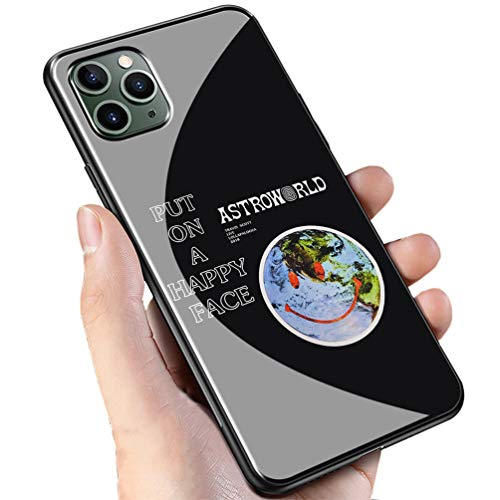 Luxury Black Cover for iPhone 11 Phone Case,9H Tempered Glass Back Cover Soft Silicone Anti Scratch Bumper Design LC-91 Travis Scott astroworld Protective Case