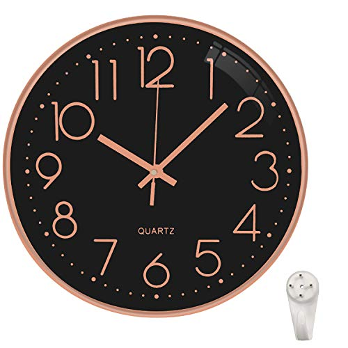 October Elf Silent Wall Clock 12 Inch Non Ticking Clock Quartz Battery Operated Round For Living Room Bedrooms Office Kitchens Class Room (Black Rose Gold-E)