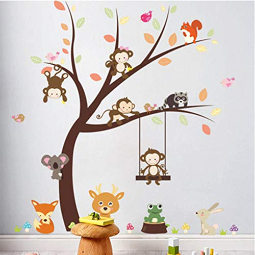 Xxscz Cartoon Aap Koala Vogels Eekhoorn Spelen Op Grote Boom Muurstickers Kids Kamer Kwekerij Decor Wallpaper Poster Kikker Konijn Gras