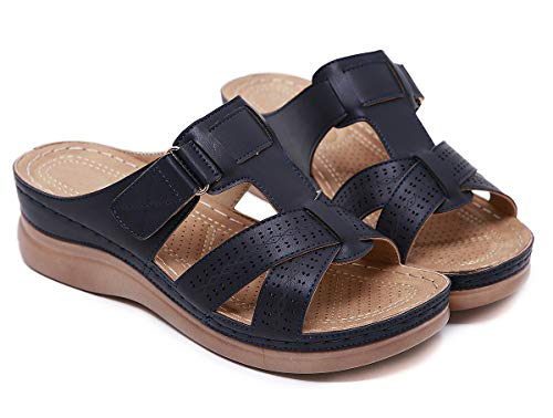 SMajong Mules de Mujer Plataforma Sandalias de Cuero Zapatillas de Moda de Verano Cómodos Zuecos Zapatos de Playa Azul Oscuro 41 EU