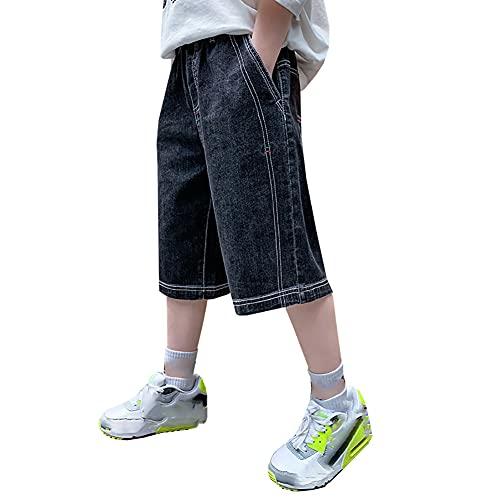 ZRFNFMA Ropa para niños Niños Verano Delgado Denim Cinco Puntos Pantalones Grandes Niños, Niños Pantalones Casuales, Niños Pantalones Cortos, negro, 130