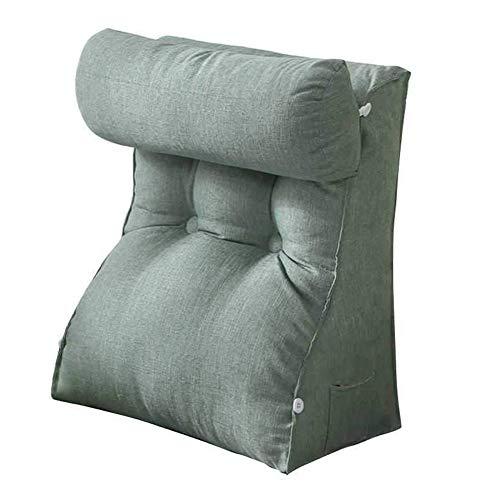 ZWW Almohadas de respaldo de cuña, almohada triangular de lectura de lino con rollo ajustable para el cuello para sentarse en la cama, sofá | Cojín lumbar de apoyo para el salón, A