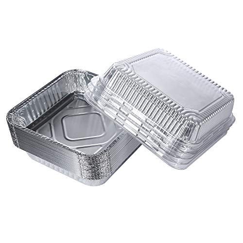 Laojbaba -Foil Pans with Lids - 8'' x 8'' Square Aluminum Pans with Covers(20Count) - includes 20 Plastic Lids and 20 Foil Pans - Disposable Food Containers Great for cooking,Baking,Storing,Prepping Food,takeout containers