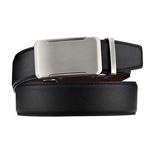 """BESTKEE Cinturón Hombre Cuero - Cinturones Piel Ajustables para Hombres con Hebilla Automática (negro 1, 110cm(28-36""""))"""