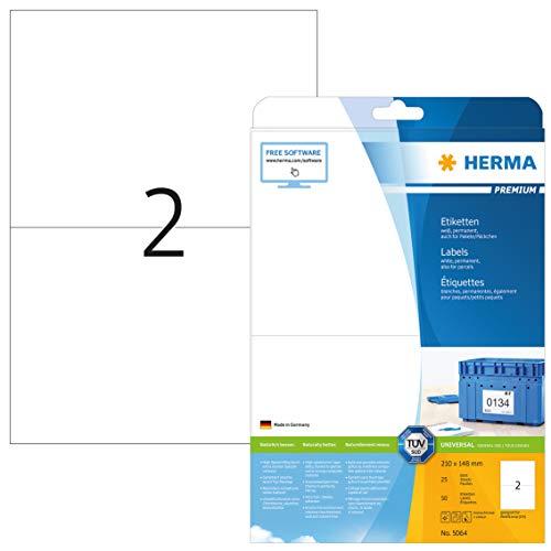 HERMA 5064 Universal Etiketten DIN A4 groß (210 x 148 mm, 25 Blatt, Papier, matt) selbstklebend, bedruckbar, permanent haftende Adressaufkleber, 50 Klebeetiketten, weiß
