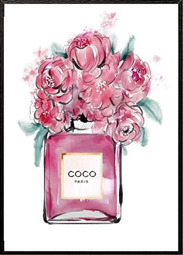 4Good Epictures Din A3 Coco Chanel No. 5 Parfümflasche mit Blumen Handgemalt Wandbild für Wohnzimmer | Bild fürs Schlafzimmer oder den Flur NWBE4
