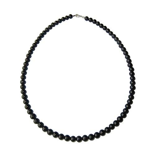 Collar Turmalina Negra 42cm - Bolas de Piedra 6mm - Cierre de Or