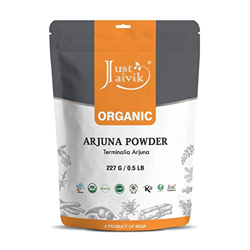 100% Organic Arjuna Bark Powder (Terminalia Arjuna) 1/2 LB, 08 oz, 227g USDA Certified Organic- Biodegradable Resealable Zip Lock Pouch Traditional rejuvenative and Tonic for The Heart*