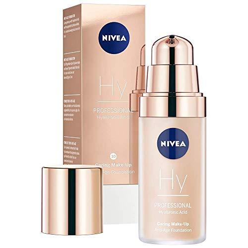 NIVEA PROFESSIONAL Hyaluronsäure Anti-Age Make-Up Foundation, 10C, kühler Hautton, Anti-Aging Foundation mit hochwirksamer Anti-Falten-Pflege, Kombi-Make-Up mit 3-fach Anti-Age Effekt, 1 x 30 ml