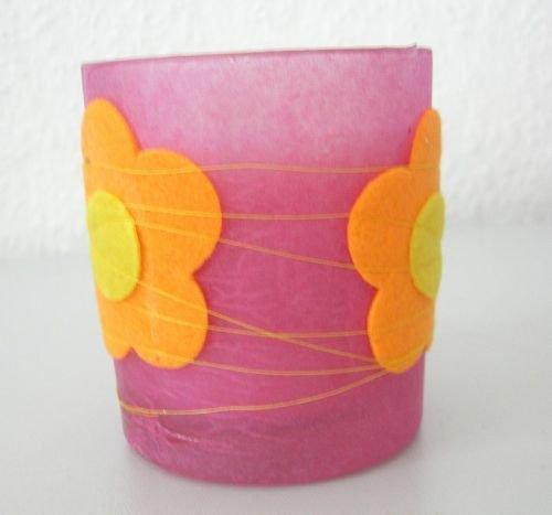 Kerzenglas Fanny Flowers pink