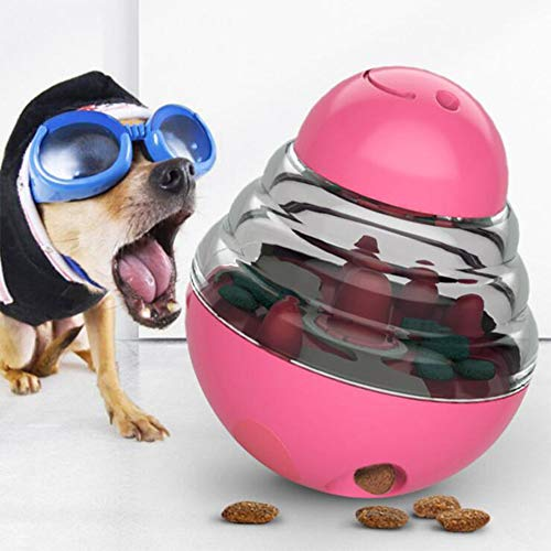 GYY Pet Dog Tumbler Leaking Food Ball Pet Tumbler Feeder Dog Shake Puzzle Relief Training Interaction Nibble Chew Companion Toys Pet Supplies (Red)