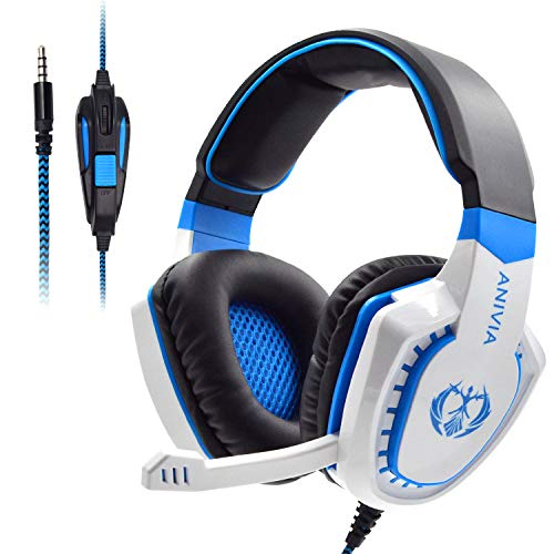 Stereo Gaming Headset AH28 , Noise Reduction lsolation With Microphone Volume Control, Bass Surround, Suitable For Nintendo Switch / Xbox One / PS4 / PC / Laptop / Smartphone / Tablet (White Blue)